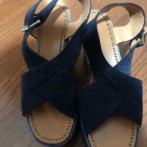 Sigerson Morrison blue suede wedge